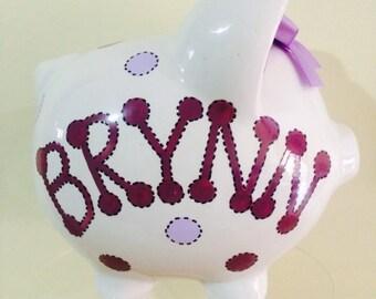 Personalized Piggy  Bank Polka Dots Wine/ burgundy  Purple - Flower Girl , Newborn,Baby Showers Christenings, Birthdays