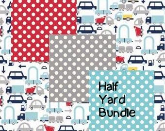 Holiday Cars Half Yard Bundle - 4 fabrics by Riley Blake Fabrics.