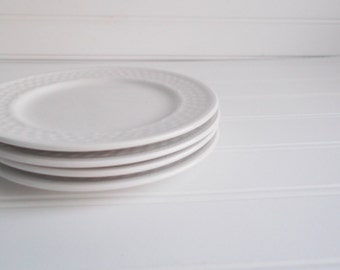 Vintage White Plates Oneida Dishes Set of Eight Stoneware Tea Party Gallery Wall Home & Living Kitchen Dining