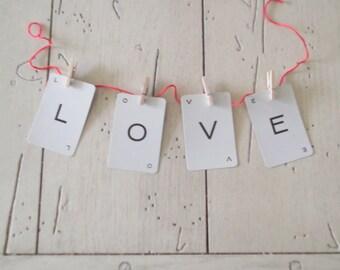 Valentine Love Banner Wedding Love Sign Love Garland Bunting Chair Banner Valentine's Day Decor Photo Prop