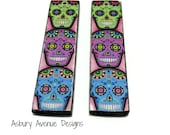 Sugar Skull .5x2 Custom Drilled or Undrilled Charm PAIR
