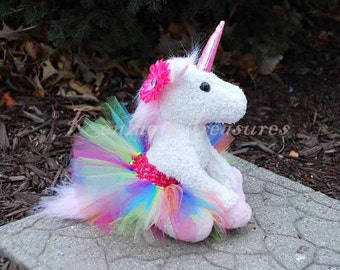 Rainbow Unicorn Plush with Removable Tutu and Daisy Hair Clip ~ Purple, Pink, Or White Unicorn