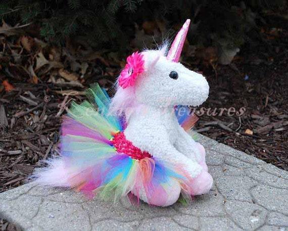 Rainbow Unicorn Plush With Removable Tutu And Daisy Hair Clip