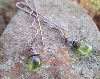Copper 'Hairpin' Earrings with Apple Green Czech Glass Drops