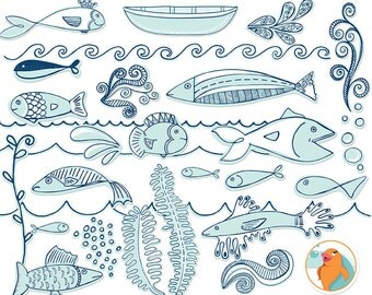 Nautical Blue Fish ClipArt, Summer Sea Life, Marine Ocean Aquarium Clip Art, Under the Sea Digital Images, Beach Vacation Scrapbook