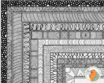 Zen 8x10 Frame ClipArt, Doodle Digital Frame Clip Art, Rectangle Page Border, Teacher Design Element, Border Clip Art Download