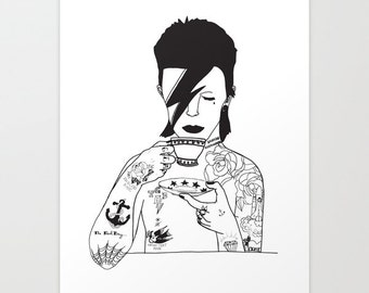 Illustrated Tattooed David Bowie Giclee print, wall art A4 210mm x 297mm