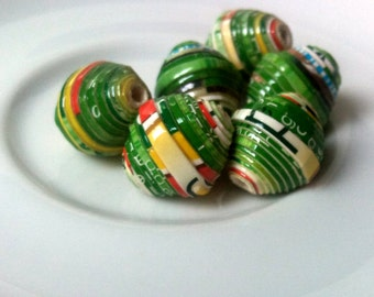 6 paper beads - green -