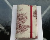 Burgundy and ivory toile Paperback padded Cover