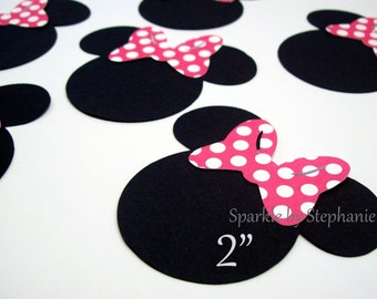 """Minnie Mouse Heads with Hot Pink Polka Dot Bow Die Cuts - 2"""" - Set of 12+"""