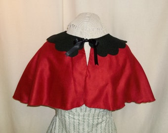 Red and Black Capelet- Suede Costume Cape