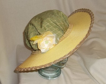 Green and Yellow Edwardian Picture Hat- Downton Abbey, Titanic, Ascot, Kentucky Derby Style
