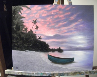 Tropical Beach With Boat, Ocean, Sea, Sand, Night, Clouds Original Landscape Oil Painting