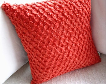 "Retro Pillow Cover - Coral Orange Chenille - Custom Dyed - Vintage Chenille - 17"" x 17"" for an 18"" insert"