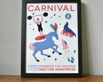 Carnival Night Personalised Strong Man Print