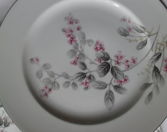 Vintage Dinner Plates Kyoto Diana Pink Gray Floral Set of Four