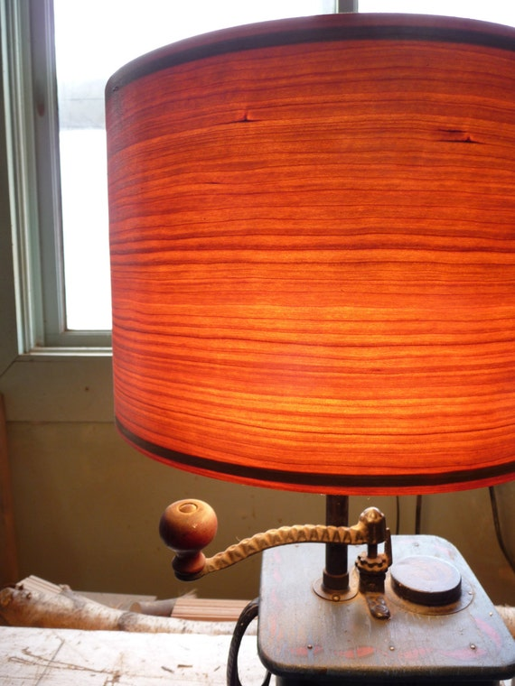 Wood Veneer Lamp Shade Custom Made Larger By Wastenotproducts