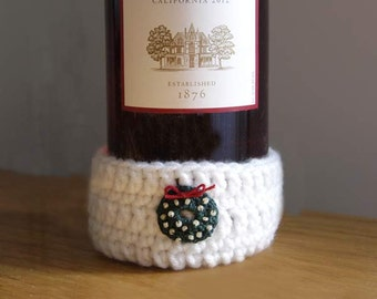 Wine Bottle Decor, Cozy, Coaster, Crochet, Christmas Holiday Decoration, Candle Cover