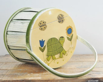 Vintage Turtle Hand Painted Wooden Bucket Retro Folk Art