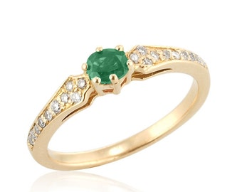 Antique Emerald Diamond Engagement Ring in 18k Gold, May Emerald Birthstone Ring, Emerald Ring