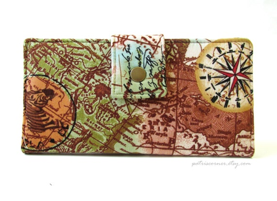 Last one - Ready to ship - Women's wallet clutch Old world map continent -Africa - ID clear pocket - Handmade and vegan