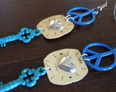 Colorful Dangle Charm Earrings with Real Watch Faces