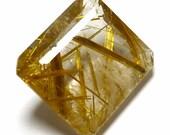 Rutilated Quartz Loose Gemstone Emerald Cut Gold Golden Flax Strands Rutile 3D Hand Cut Crystal Inclusion Rare Unusual