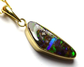 18kt Gold Australian Boulder Opal Natural Stone from Australia Pendant Blue and Green Pin Fire Small Dainty Size Perfect Birthday Gift