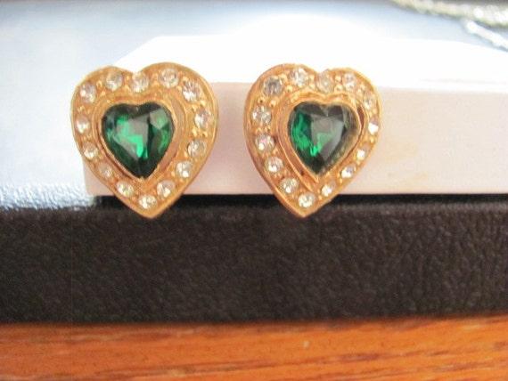 Vintage Emerald and Clear Rhinestone Heart Earrings