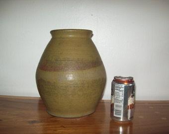 """10"""" Hand Thrown Matte Glaze Stoneware Vessel / Urn signed Guerrero 1975"""
