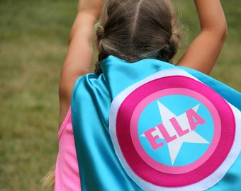 Girls Superhero Cape - Kids PERSONALIZED SUPERHERO Cape - Cool Mom Picks - Full Name Customized Present