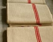 Vintage Linen Metis Tea Towel French 2pc Dishcloth/ Christmas Table. Rustic Towel Farmhouse Kitchen Wedding