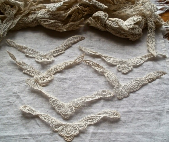 RESERVED FOR ELEANOR 60 Appliques French lace Set of Twenty Appliques Wing Shapes Gorgeous Romantic Wedding Cuffs Jewellery Bridal Provencal