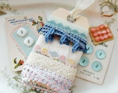 Vintage Pink and Blue Ribbon Lace Button Embellishment Assortment Inspiration Kit