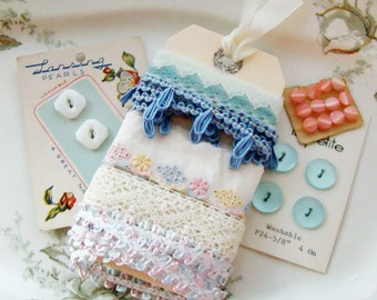 Vintage Pink and Blue Ribbon Lace Button Embellishment Assortment Inspiration Kit
