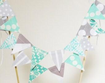 Cake Topper Banner, Party Cake Bunting, Fabric Pennant Flags, Wedding, Birthday Cake, Baby Shower, Chevron, Polka Dot Aqua Light Blue, Grey