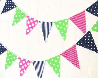 Banner, Bunting Pennant Fabric Flags, Navy Blue, Hot Pink, Green, Polka Dot, Stripe Baby Nursery Decor, Wedding Garland, Girl Birthday Party
