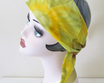 Vintage 1970's Scarf / Retro Funky Green & Yellow Scarf / 60's 70's Long Hair Piece or Neck Scarf