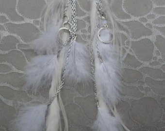 Earrings White Long Rooster and Short Ostrich and Marabou Feathers n Rabbit Fur with SIlver Chains and Circle Charms