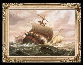 Ships In a Storm Miniature Dollhouse Art Picture 6796