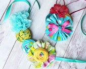 Candy Carnival toddler to adult rosette, ruffle & bloom bib necklace and headband set