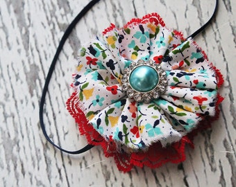 Ring around the Rosie- red, yellow and aqua ruffle and lace headband