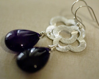 Smooth Amethyst and Clover Flower Earrings Sterling Silver