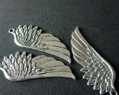Destash (2) Large Pretty Wing Charms Pendants - for pendants, jewelry making, crafts, scrapbooking