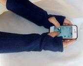 Fingerless Fleece Texting Gloves Arm Warmers Solid Double lined Warm Fleece Fingerless Gloves