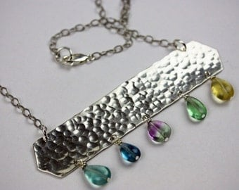 Sterling Bar necklace with Fluorite