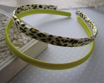 Yellow Leopard . satin headbands . set of 2 . girls hair accessory . black yellow white