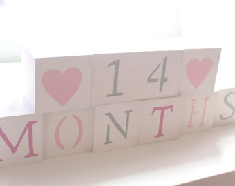 Baby Blocks- Photo Prop for Monthly Baby Pictures- Set of 18 Blocks