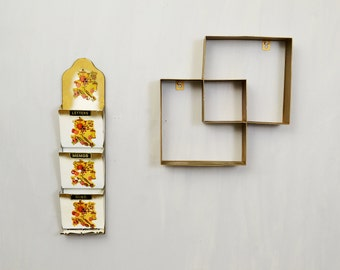 20 PERCENT OFF Code: 20FOR17 > 1960's Gold Metal Interlocking Square Wall Shelf & Matching Metal Letter Holder