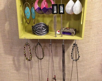Upcycled Jewelry Holder Organizing Display (Green Cubby)